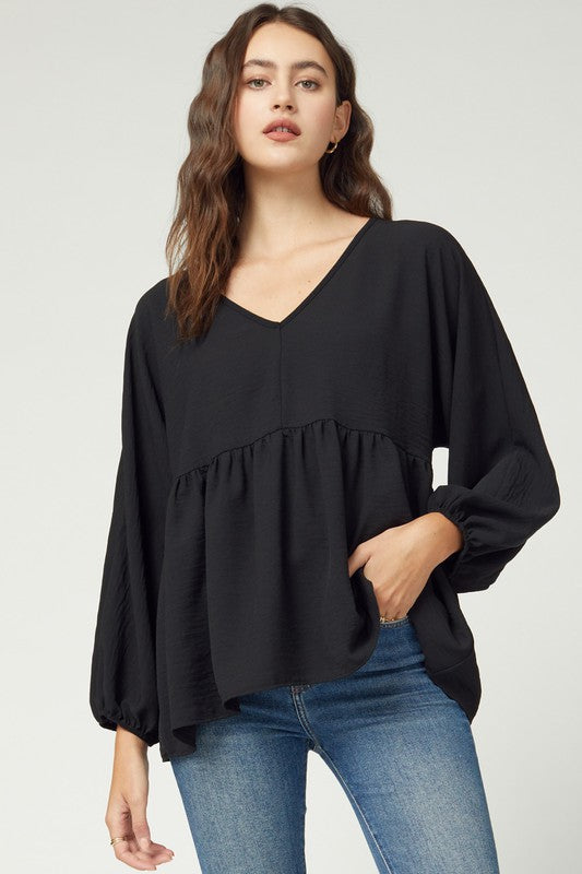 LS Woven Babydoll Top