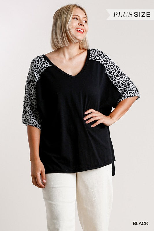 Plus Animal Sleeve VNeck Top