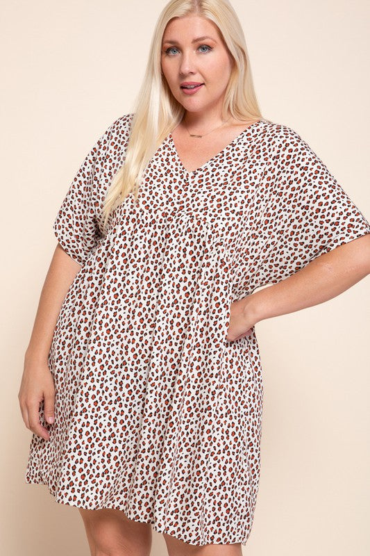 Plus Leopard Print Babydoll Dress