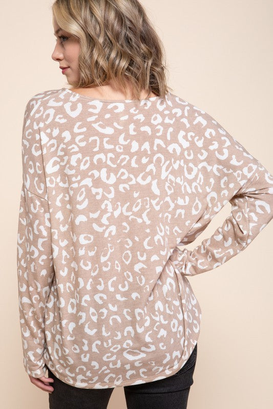 Cheetah Print LS Casual Top