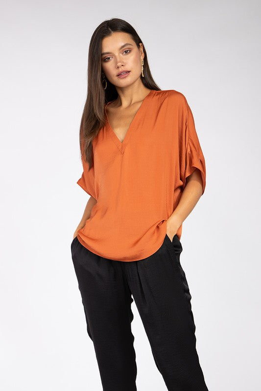 VNeck Solid Woven Blouse