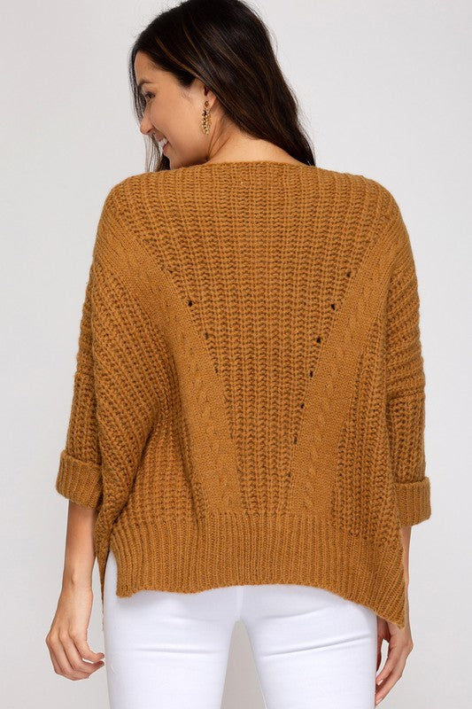 Cable Knit V Sweater