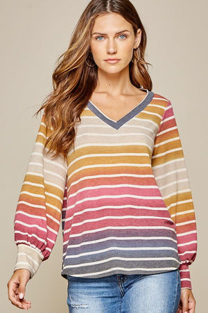 Puff Sleeve VNeck Multi Stripe Top