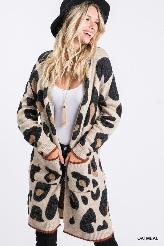 Color Accent Long Leopard Cardigan