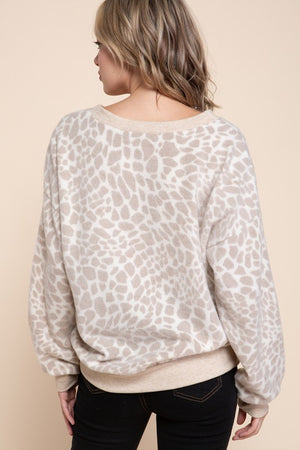 Contrast Band Brushed Animal Top