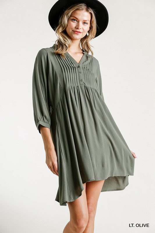 Pleated Placket Babydoll Dress