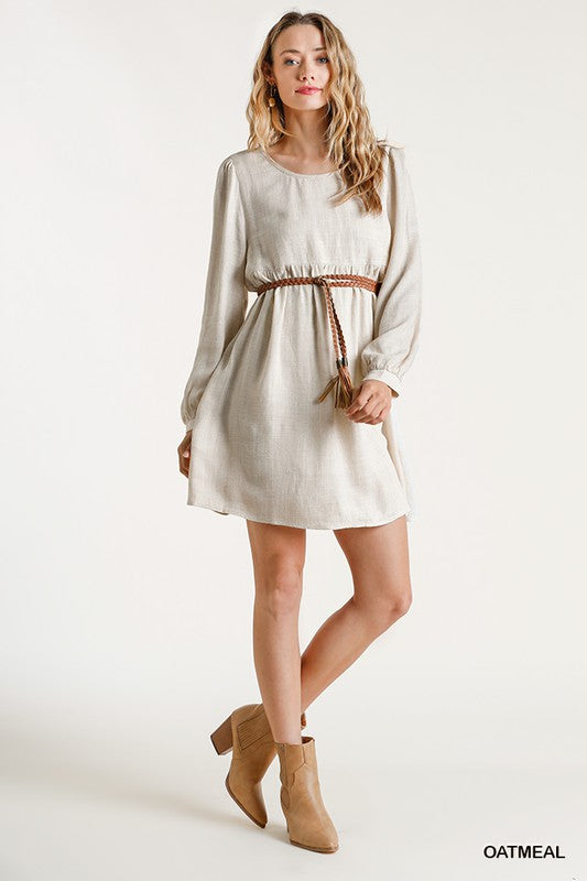 Keyhole Back LS Linen Dress