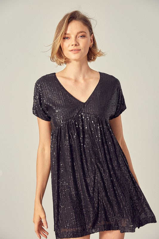 Sequin Babydoll Romper Dress