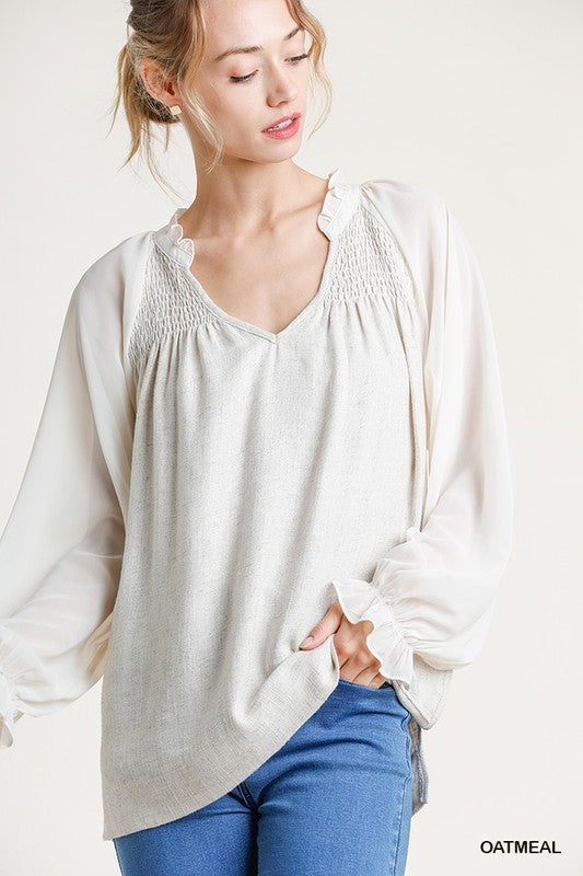Sheer Sleeve Smocked Linen Top