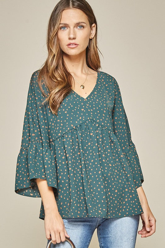 Spotted Flare Sleeve Babydoll Top