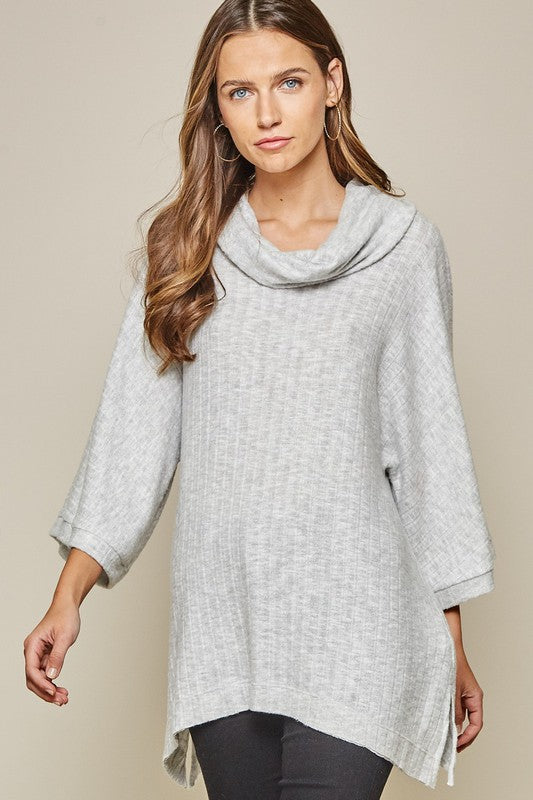 Solid Cowl Neck Tunic Top