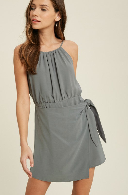 Faux Wrap Romper Dress