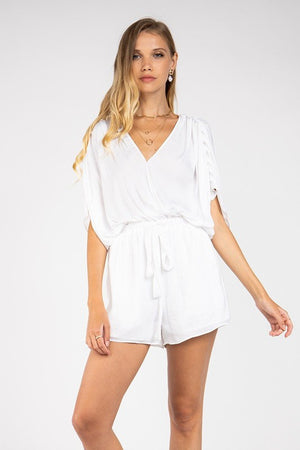Satin Pleated Surplice Romper