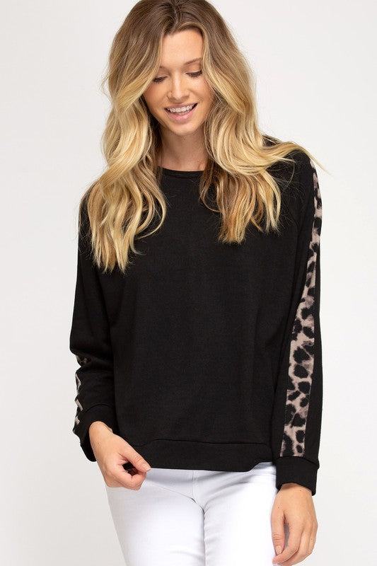 Contrast Leopard Sleeve Terry Top