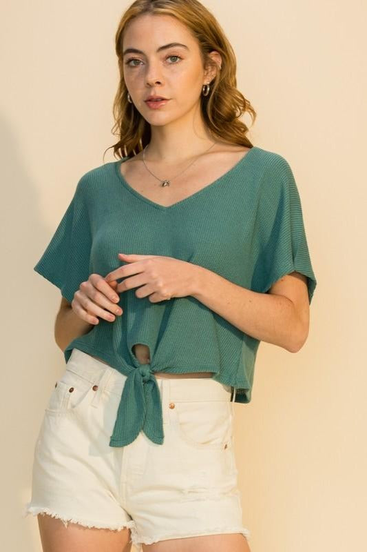 Knotted V-Neck Crop Top