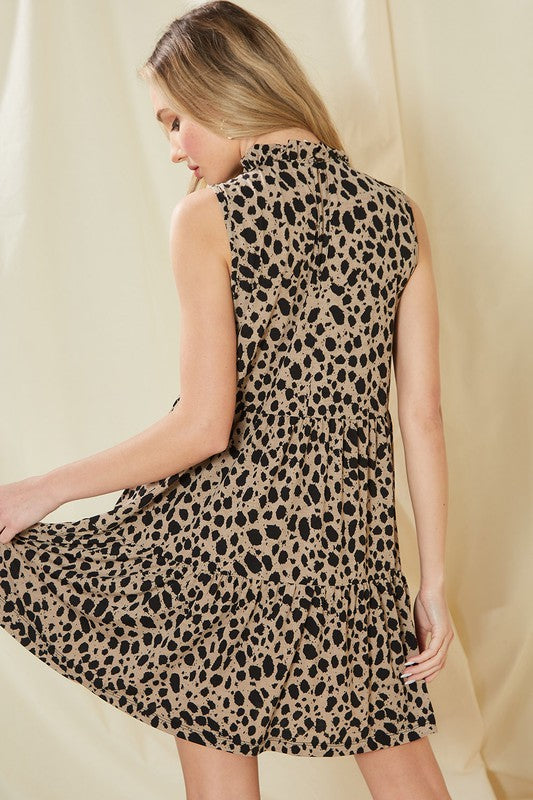 Mock Ruffle Neck Cheetah Dress