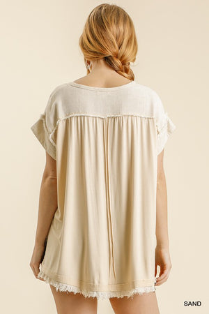 Knit & Linen Button Yoke Top