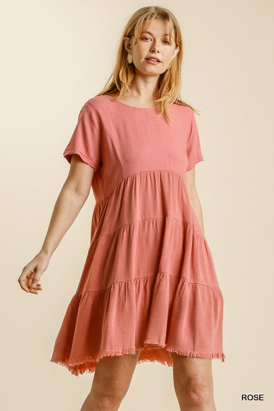 Linen Blend Back Tie Dress