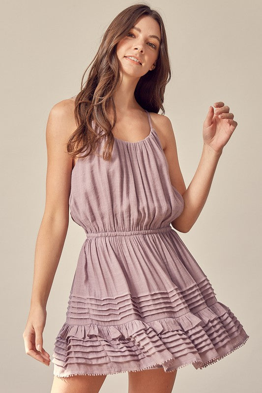 Ruffle Pleat Spaghetti Strap Dress