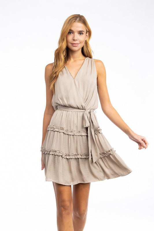 Sleeveless Surplice Dress With Waist Sash