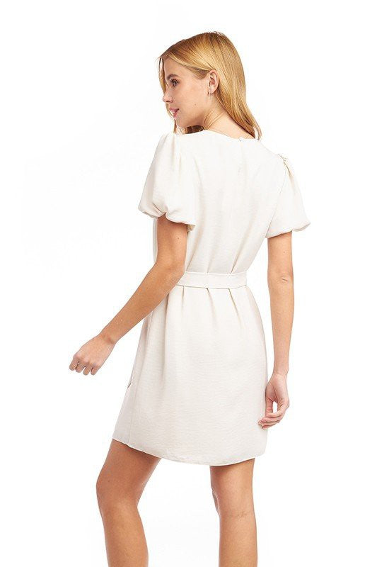 Bubble Sleeve Waist Sash Dress