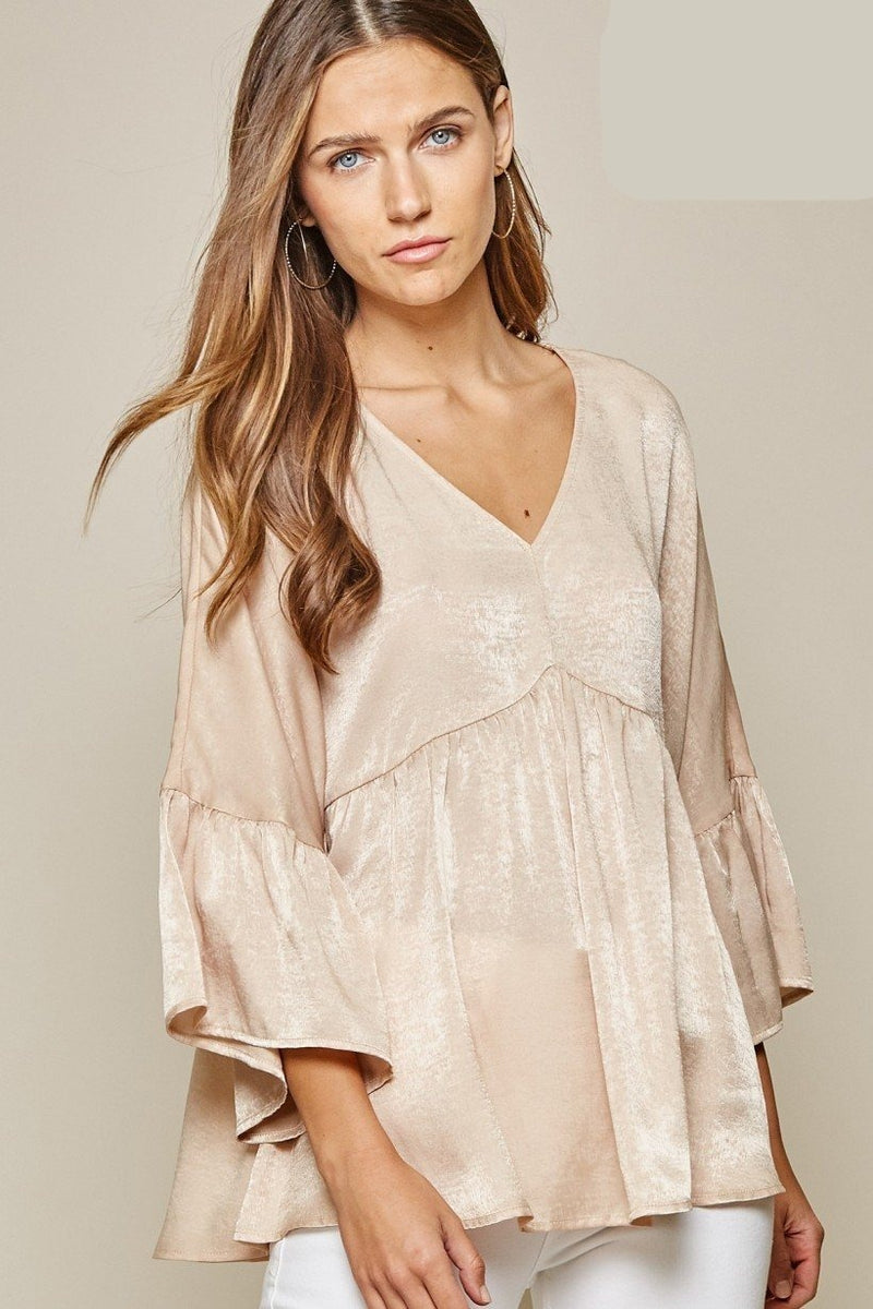Satin V-Neck Babydoll Top