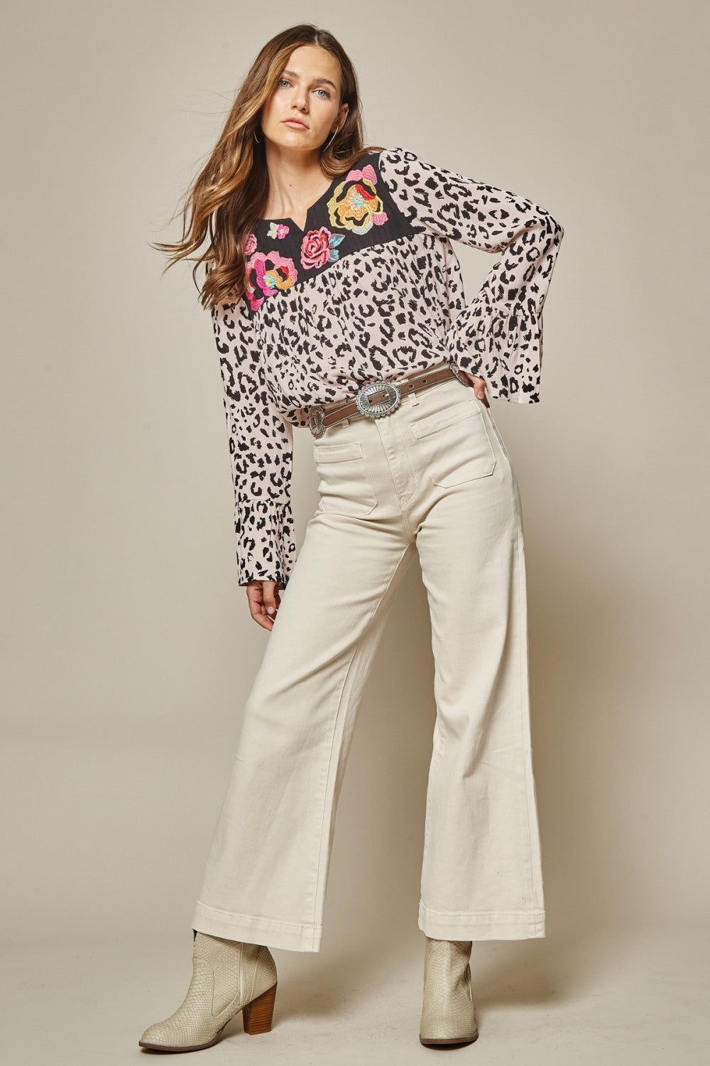 Embroidered Front Bell Sleeve Leopard Top