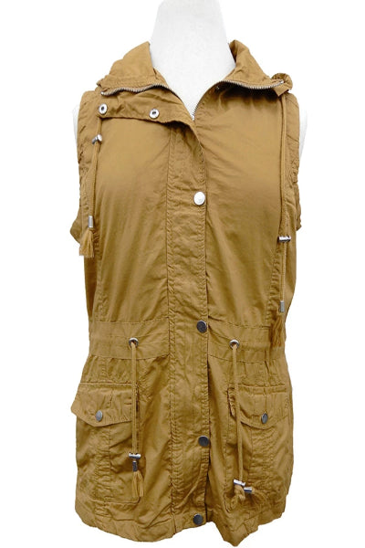 Plus Bennett Cargo Vest With Detachable Hood - Free Souls Boutique