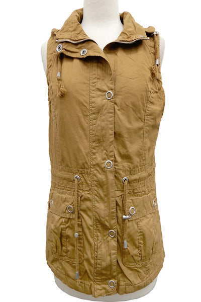 Bennet Mustard Cargo Vest With Detachable Hood - Free Souls Boutique