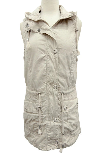 Bentley Stone Cargo Vest With Detachable Hood - Free Souls Boutique