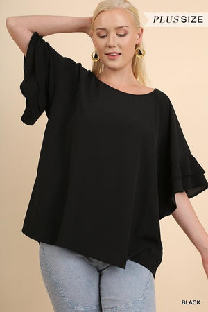 Plus Layered Ruffle Sleeve Top