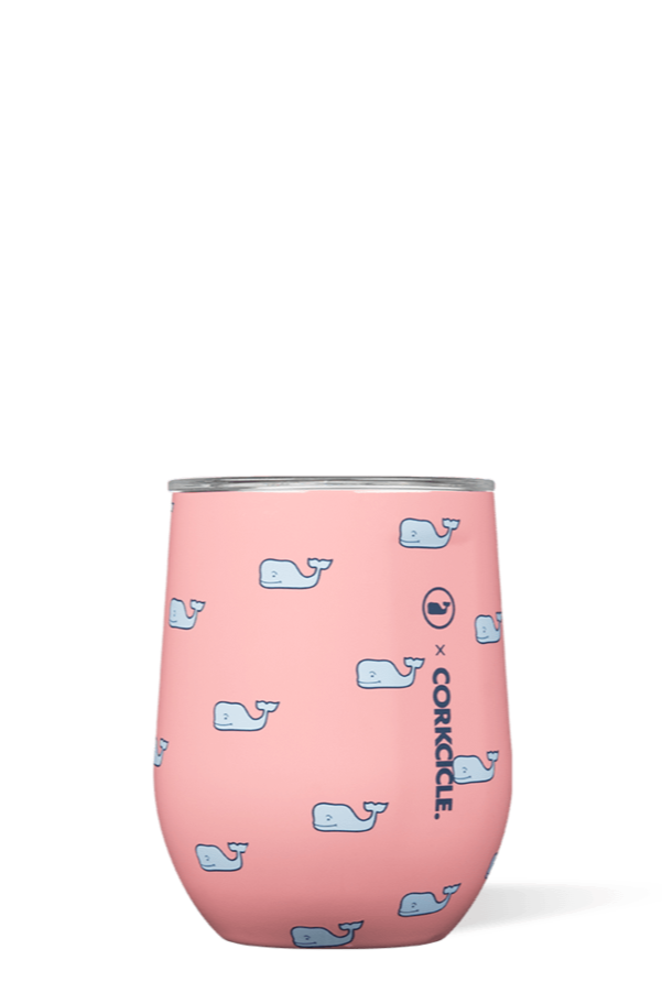 Corkcicle 12 oz Stemless Wine Glass - Vineyard Vines Whales Repeat
