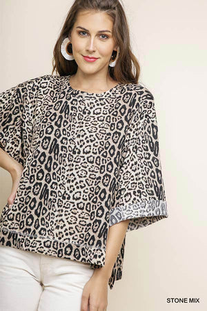 Jaguar Print Cuff Sleeve Top - Free Souls Boutique
