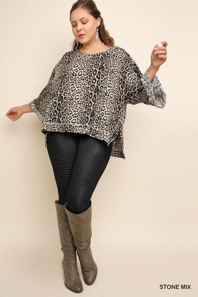 Plus Jaguar Print Cuff Sleeve Top