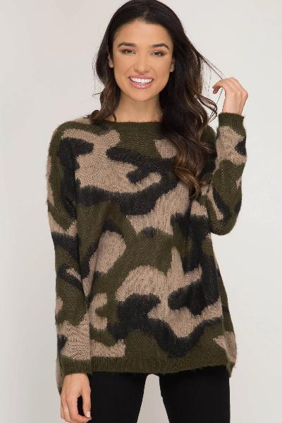 Camo Sweater - Free Souls Boutique
