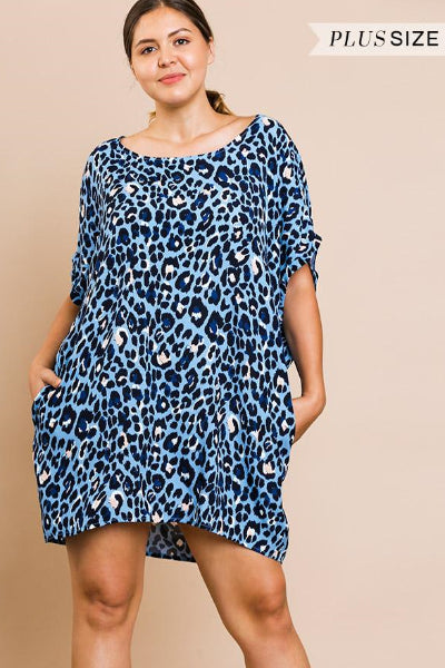 Plus Animal Print Round Neck Dress - Free Souls Boutique