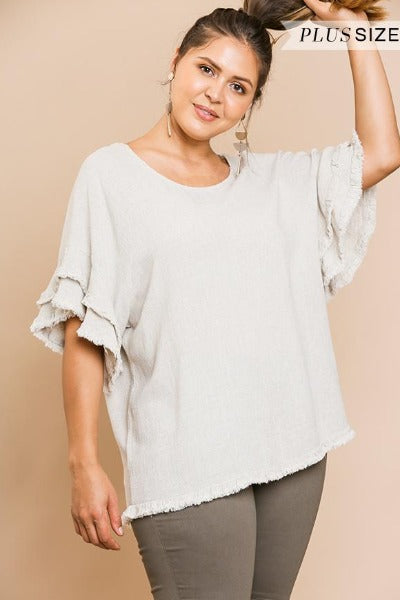 Plus Linen Layered Sleeve Frayed Top