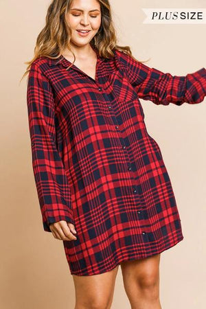 Plus Plaid Button Front Dress - Free Souls Boutique