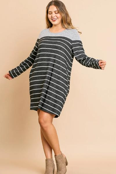Plus Fleece Striped Pocket Dress - Free Souls Boutique