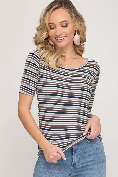 Fitted Stripe Knit Top