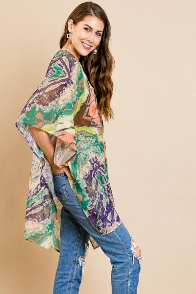 Multicolor Side Slit Kimono - Free Souls Boutique