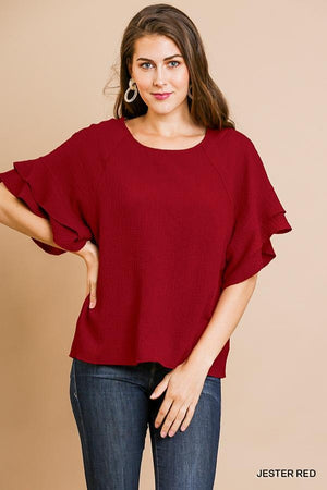 Layered Sleeve Bubble Crinkle Top