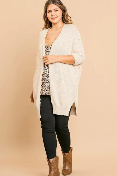 Plus Knit Open Front Cardigan - Free Souls Boutique