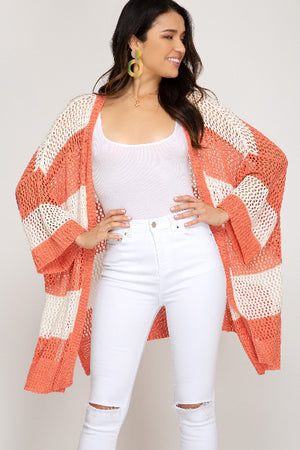 3/4 Sleeve Striped Sweater Cardigan - Free Souls Boutique