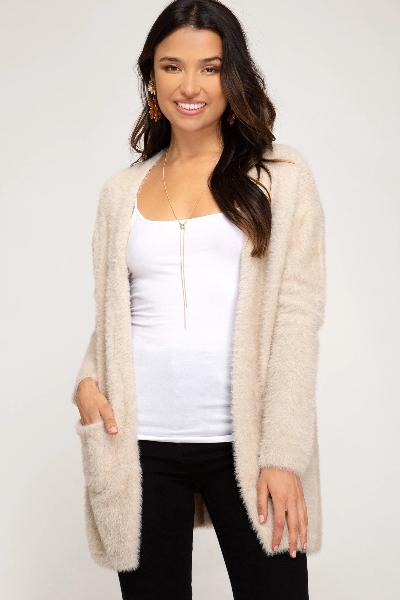 Fuzzy Soft Pocket Cardigan - Free Souls Boutique