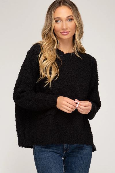 Slouch Pocket Popcorn Sweater - Free Souls Boutique