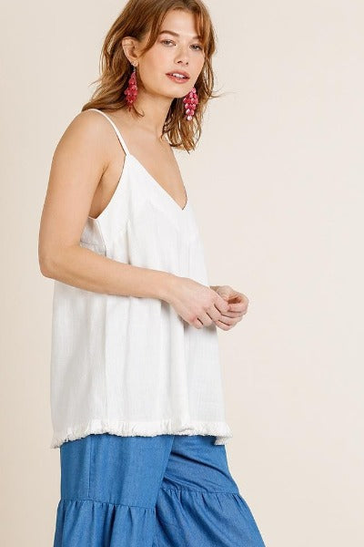 Fray Bottom Linen Tank Top