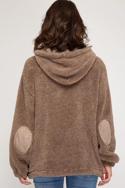 Elbow Patch Teddy Bear Hooded Pullover Top - Free Souls Boutique
