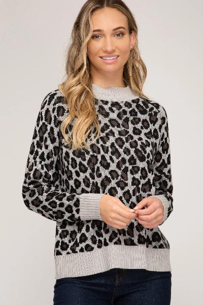 Solid Band Leopard Sweater Top - Free Souls Boutique