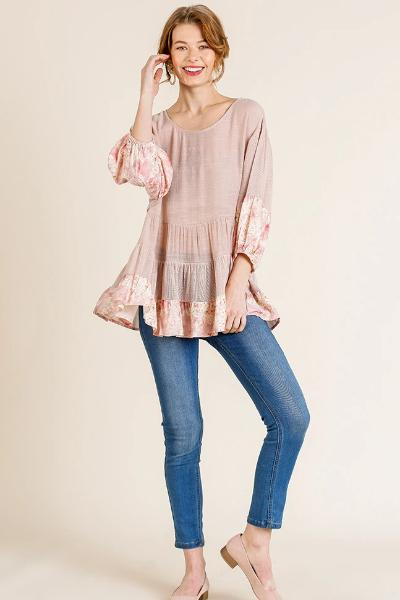 Floral Trim Puff Sleeve Top - Free Souls Boutique